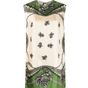 GUCCI Green and Ivory Print Silk Tunic NWT